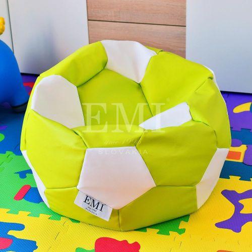 Sedací vak fotbalový míč malý limetkovo-bílý EMI