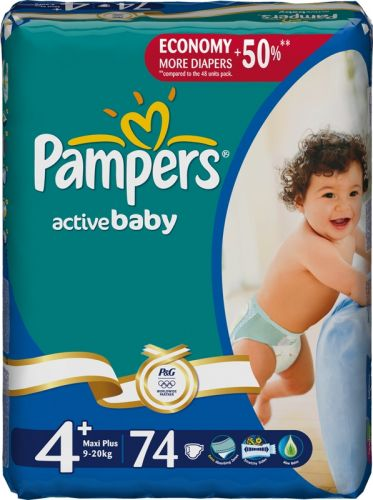 Pampers Active Baby 4P MaxiPlus - 74 ks