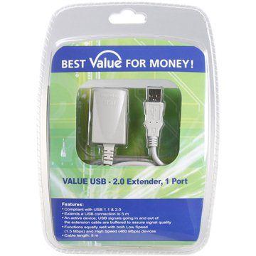 OEM USB 2.0 prodlužovací 5m A-A aktivní šedý cena od 0,00 €