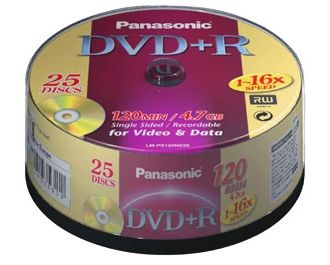 Disk DVD+R Panasonic LM-PS120NE25, 16x, 120min., 25ks