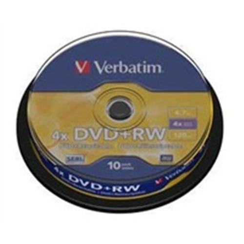 VERBATIM DVD+RW 4x 10ks cakebox
