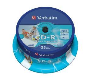 VERBATIM CD-R DLP 700MB/80min, 52x, printable, 25-cake (43439)