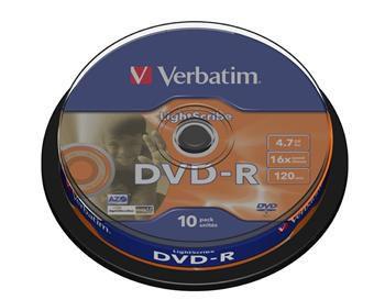 Verbatim DVD-R 4,7GB 16x LightScribe spindl 10pck