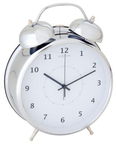 NEXTIME Wake Up 9 cm - bílá/stříbrná