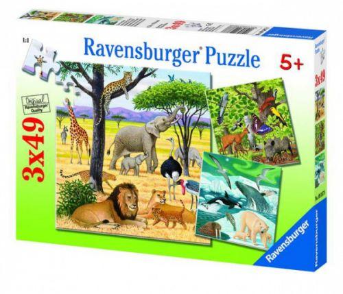 Ravensburger Zvířata světa 3x49 dílků