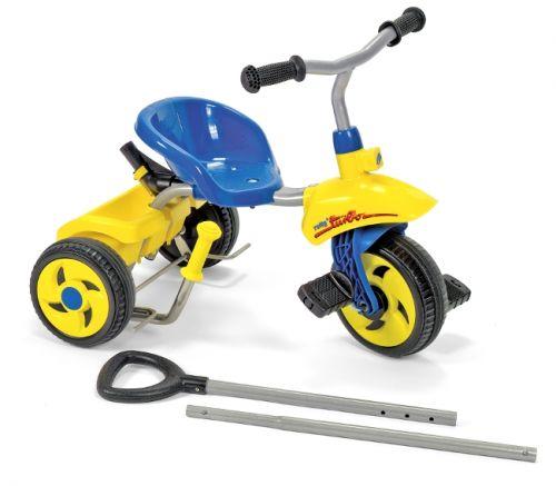Rolly Toys Šlapací tříkolka Rolly Trike Turbo s vodící tyčí - modrá