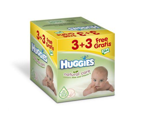 Huggies ubrousky Natural Care 3+3 Gratis 64x6ks