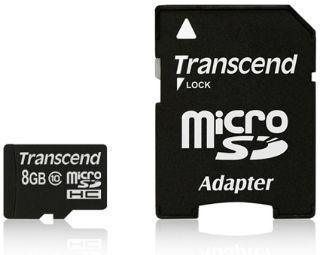Transcend Micro SDHC karta 8GB Class 10 + Adaptér