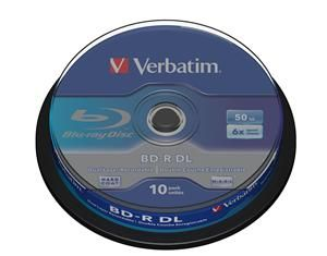 Disk BD-R SL VERBATIM (10-pack)/DualLayer/spindle/6X/50GB