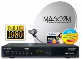 Satelitní komplet Mascom MC-2200HD/60 + karta Skylink, příjem jedné družice