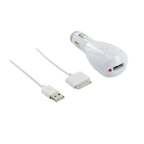4World Nabíjačka pre iPhone / iPod, USB, a do automobilu 12/24V, Biela cena od 0,00 €