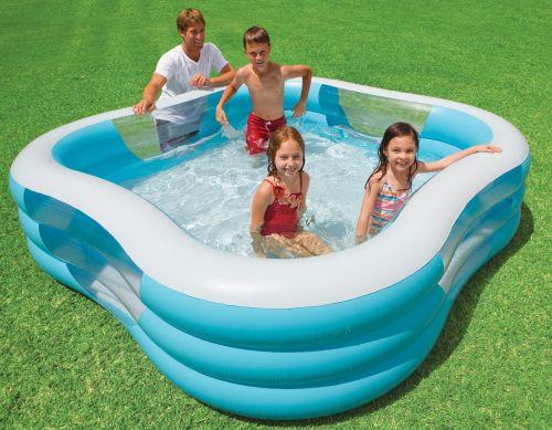 Intex Bazén nafukovací štvorec s okienkami, 3kruhový