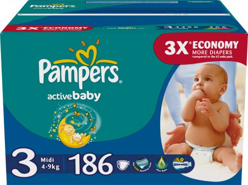 Pampers Active Baby 3 Midi - 186 ks