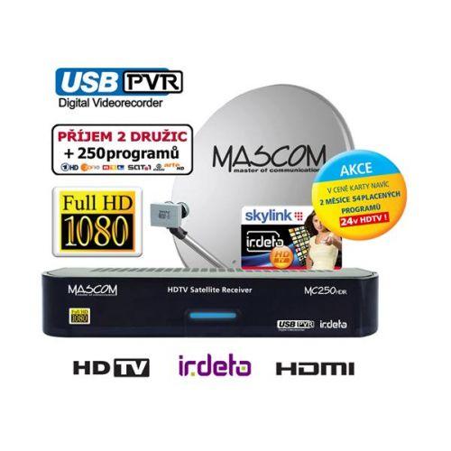 Satelitný komplet Mascom MC250/80MBL, karta Skylink IRDETO HD (příjem dvou družic) čierny