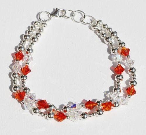 Swarovski Oranžové a crystal korálky