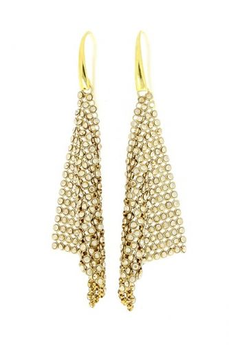 Swarovski Náušnice s visiacimi kryštálmi zlatisté