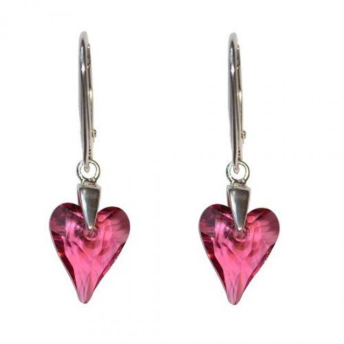 Swarovski náušnice divoké srdce ružové 12 mm