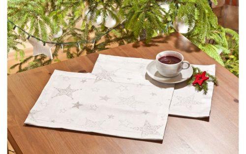 EVENIT - Vianočné prestieranie strieborné 4ks - Polyester