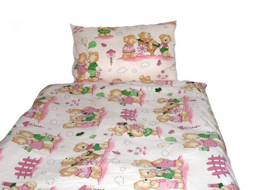 EVENIT - BABY Posteľné obliečky Medvedík a záhradka 040C - Bavlna - 90x130 cm
