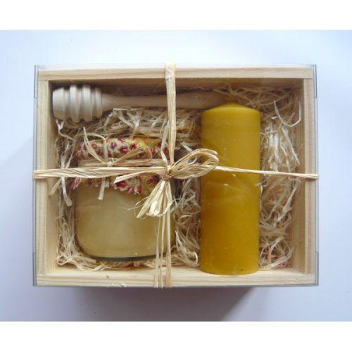 - Darčekový balíček - Drevená kazeta - med, sviečka, drevená naber cena od 0,00 €