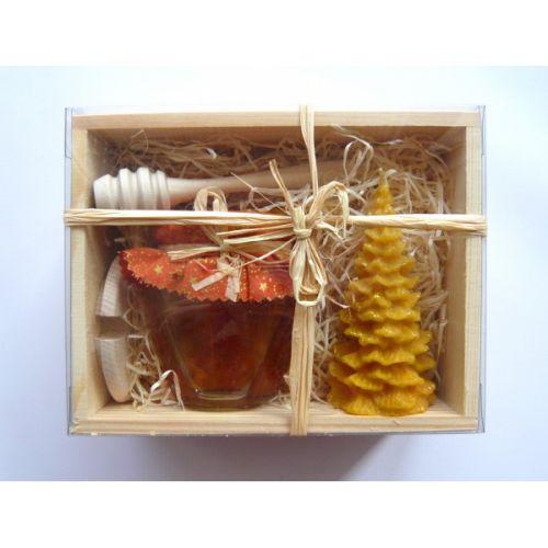 - Darčekový balíček - Drevená kazeta - med, sviečka, naberačka a v cena od 0,00 €