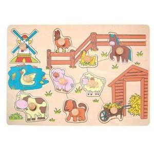 Woody Puzzle na desce Zvířata u mlýna