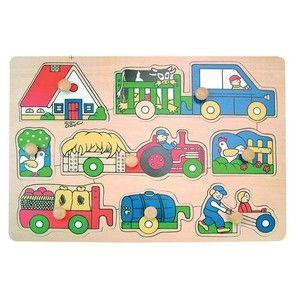 Woody Puzzle na desce Zemědělské stroje