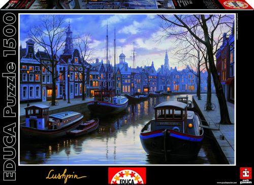 Educa Puzzle Amsterodam v noci 1500 dílků