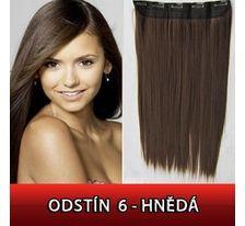 Clip in vlasy - 60 cm dlhý pás vlasov - 6 hnedá SVĚTOVÉ ZBOŽÍ