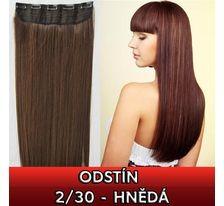 Clip in vlasy - 60 cm dlhý pás vlasov - odtieň 2/30 - hnedá SVĚTOVÉ ZBOŽÍ