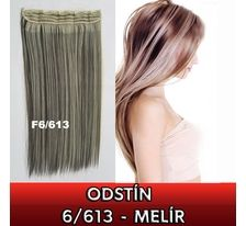 Clip in vlasy - 60cm dlhý pás vlasov - odtieň 6/613 - melír SVĚTOVÉ ZBOŽÍ