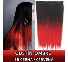 Clip in vlasy - 60 cm dlhý pás vlasov - ombre štýl 1B/ČERVENÁ SVĚTOVÉ ZBOŽÍ