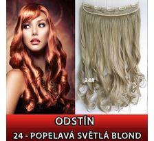 Clip in pás - lokne 55 cm - odtieň 24 - popolavá svetlá blond SVĚTOVÉ ZBOŽÍ