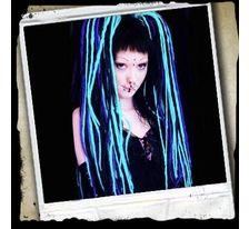 Rasta cop - vrkoč rovný 57 cm na štipci - kombinácia čierná - modrý mix SVĚTOVÉ ZBOŽÍ