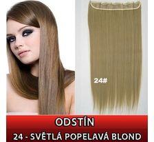 Clip in vlasy - 60 cm dlhý pás vlasov - 24 - svetlá popolavá blond SVĚTOVÉ ZBOŽÍ