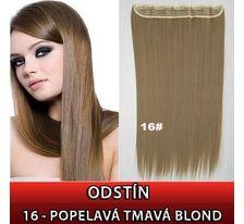 Clip in vlasy - 60 cm dlhý pás vlasov - 16 - popolavá tmavá blond SVĚTOVÉ ZBOŽÍ