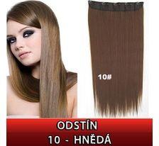 Clip in vlasy - 60 cm dlhý pás vlasov - odtieň 10 - hnedá SVĚTOVÉ ZBOŽÍ