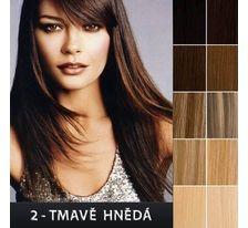 Ľudské vlasy - Clip in sada Remy - 55 cm - 7 dielna - odtieň 2 - tmavo hnedá SVĚTOVÉ ZBOŽÍ