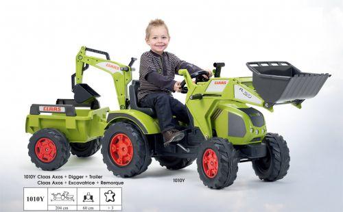 FALK Šliapací traktor 1010Y Claas Axos s nakladačom, rýpadlom a vlečkou