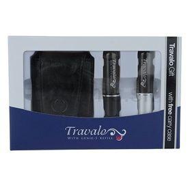 Travalo Refill Atomizer Pure Excel darčeková sada I. (Black and Silver) plniteľný rozprašovač parfémov 2 x 5 ml + púzdro 6,5 x 8,5 cm