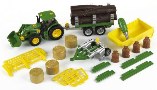 KLEIN John Deere Tractor sa sklápačkou 3 prívesy a pluhom