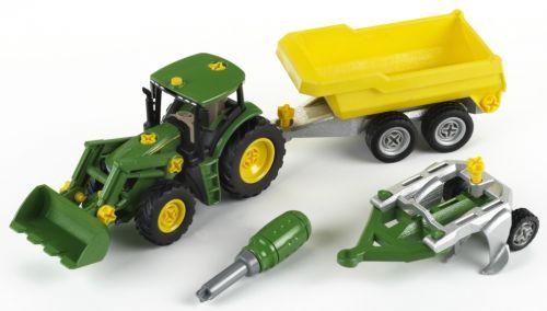 KLEIN John Deere Traktor so sklápacím prívesom a pluhom